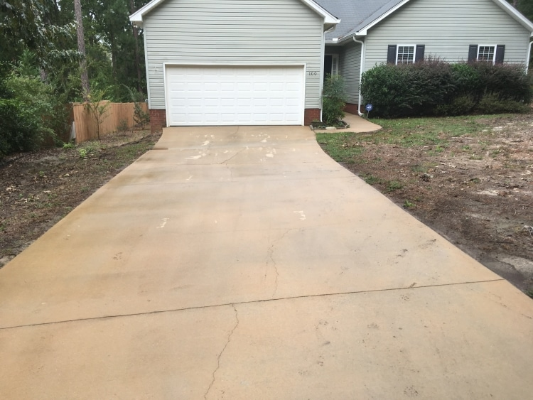 driveway after pressure washing